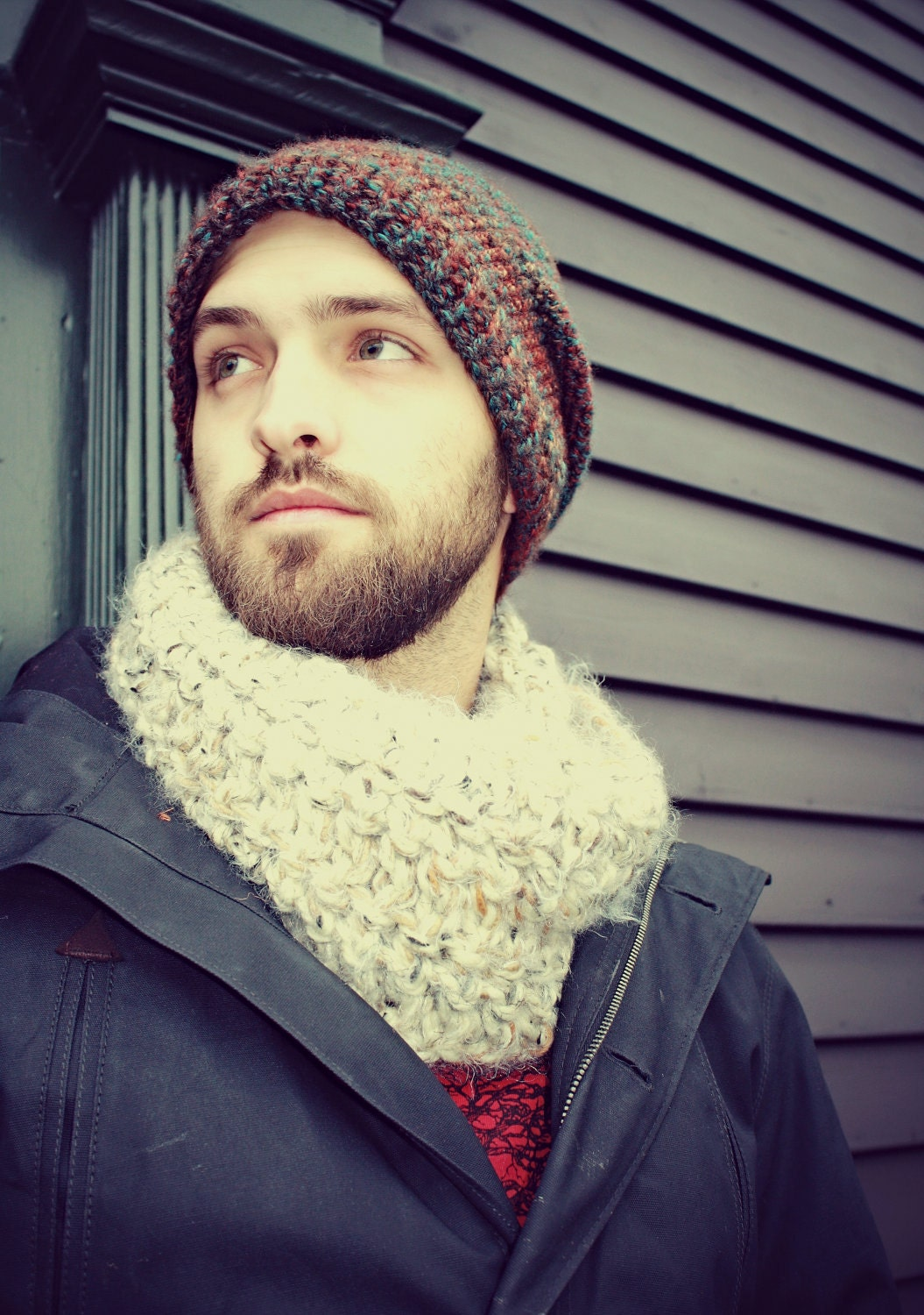 Handmade Mens Cowl, Oatmeal, Unisex Cowl, Women's Cowl, Winter Scarf, Bulky  Infinity Scarf, Neck Warmer