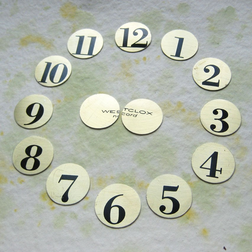 Metal Discs Recycled from Salvaged Scrap - Clock Face Numbers