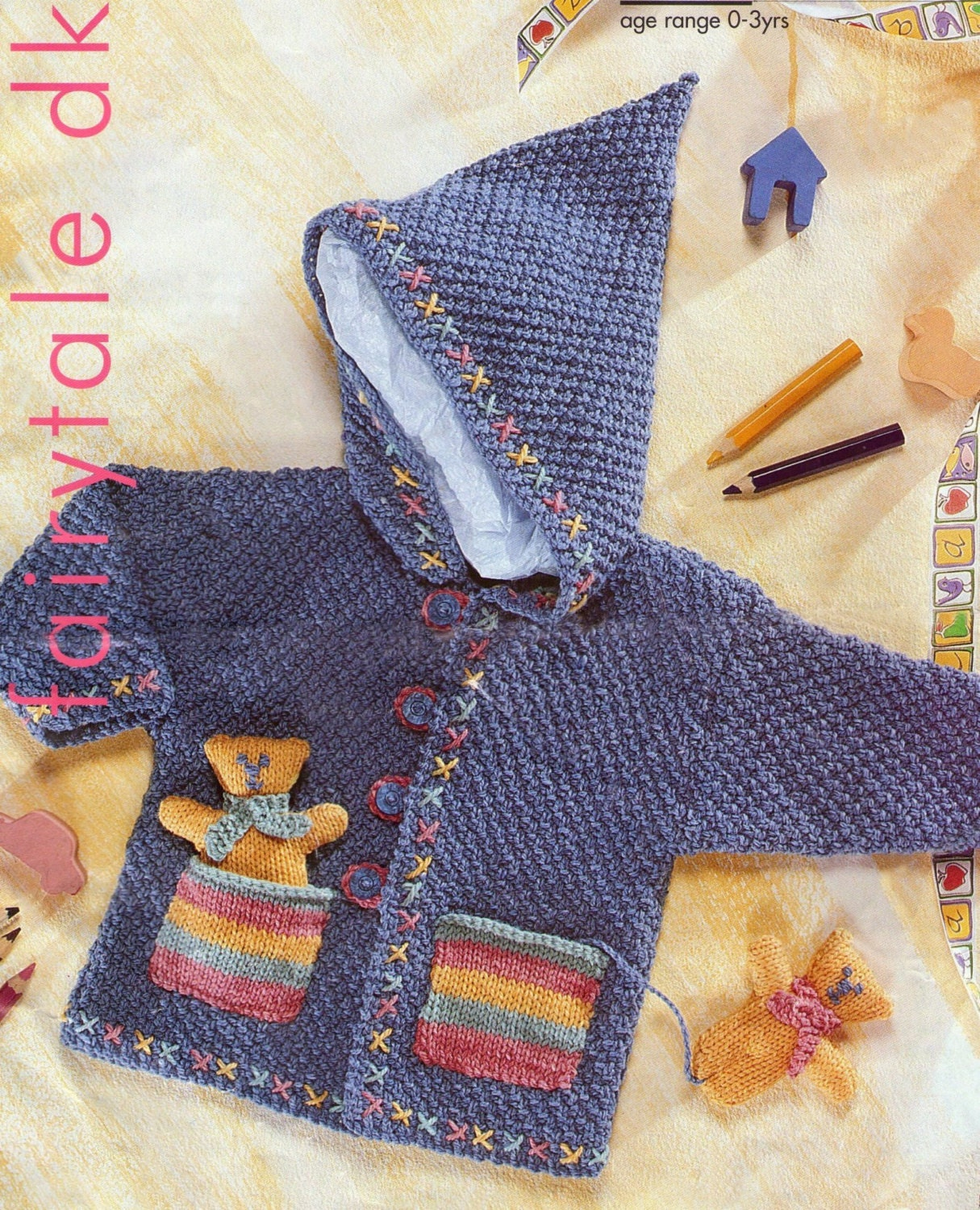 PDF Double Knitting Pattern Hooded Coat with cute teddies