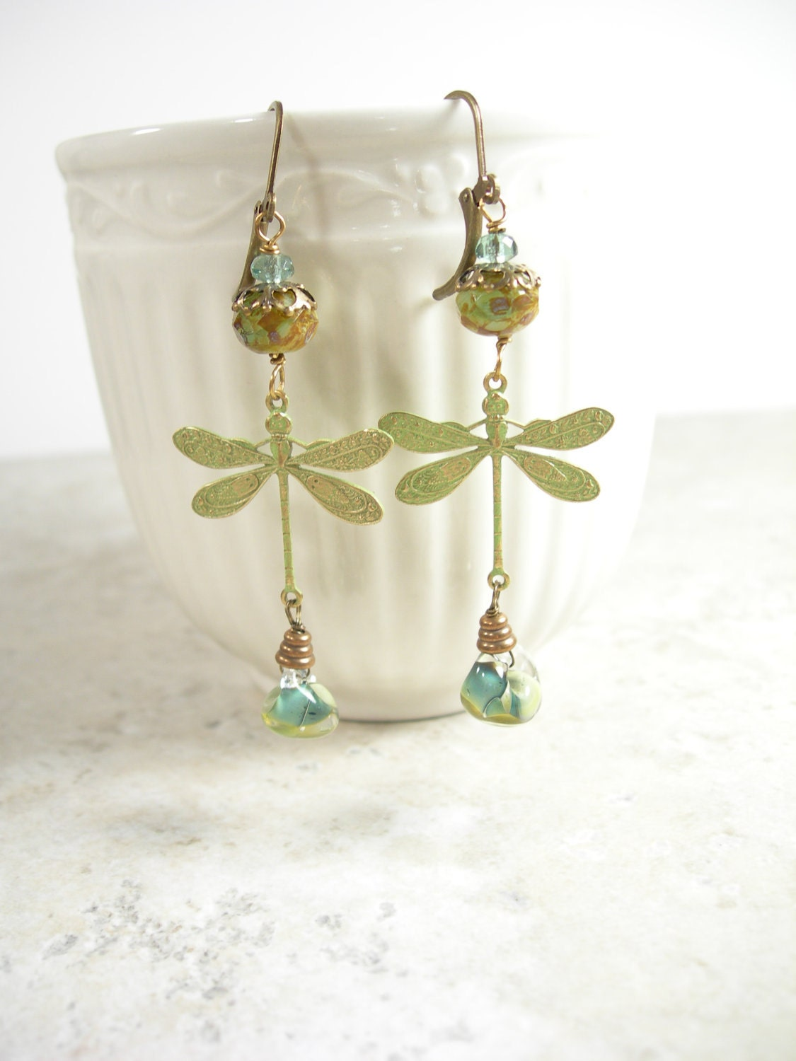 Dragonfly Dream Earrings, patinaed sage gold dragonflies, mossy sage lampwork, and antiqued brass