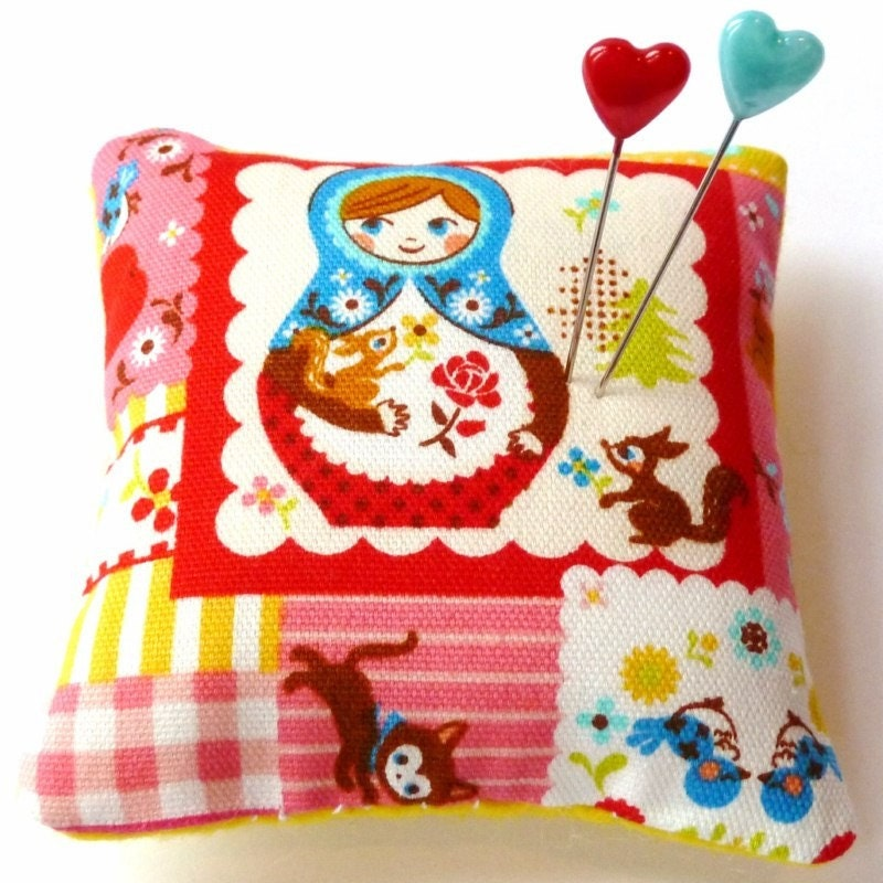 Handmade Square Pincushion - Matryoshka