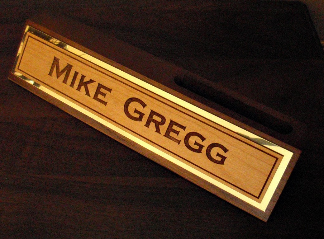 Personalized Desk Log Name Plate With By Lasercreationsco