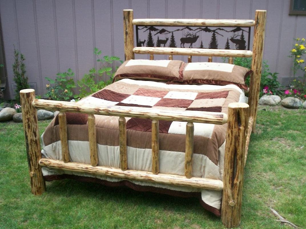 King size complete rustic iron style pine by for Log style beds