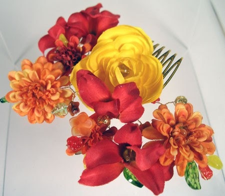 LILIES AND POPPIES Beaded Hair Vine Comb with Yellow Red and Orange Silk Flowers