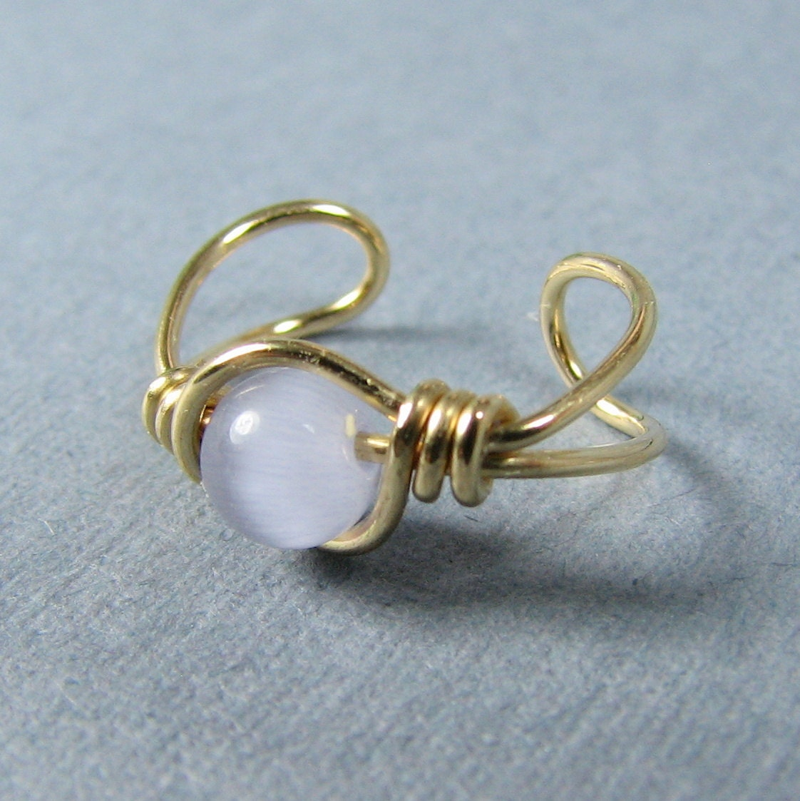 14k Gold Filled Ear Cuff Light purple Cats Eye