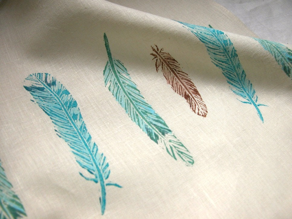 feathers hand printed linen tea towel