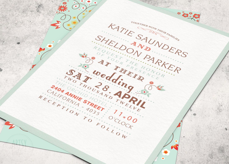 Wedding Invitation Designs Mint Green Matik for
