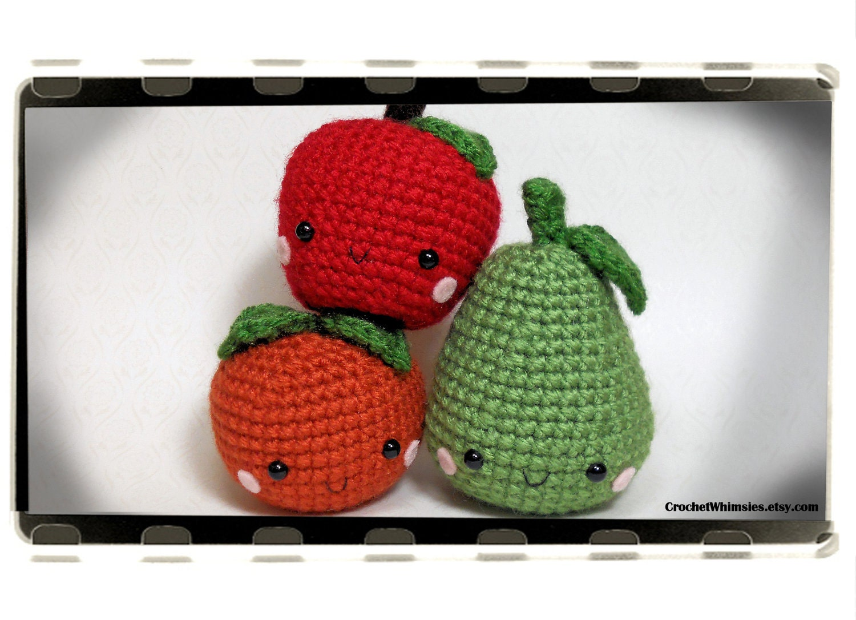 Amigurumi Fruit : Items similar to Amigurumi Fruit Trio - Kawaii Fruits on Etsy