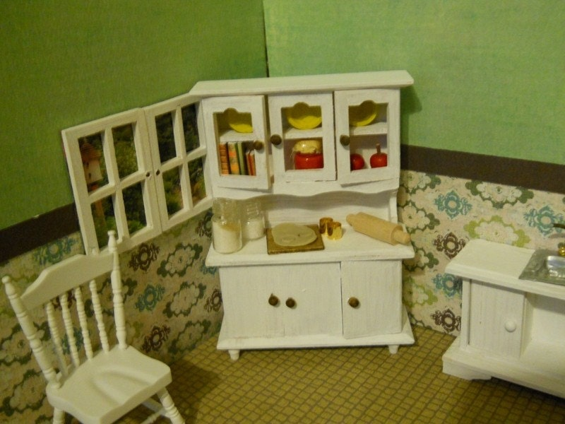 Dollhouse  Miniature Kitchen baking hutch
