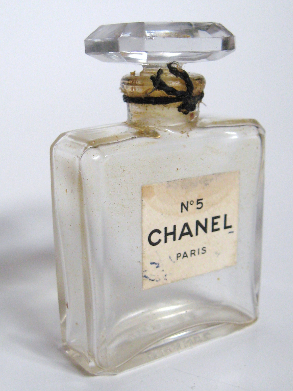 Vintage 1950s CHANEL No. 5 PARIS Crystal Glass 1/2 Ounce Perfume Bottle..Made in France..Avant Garde Mod Mid Century