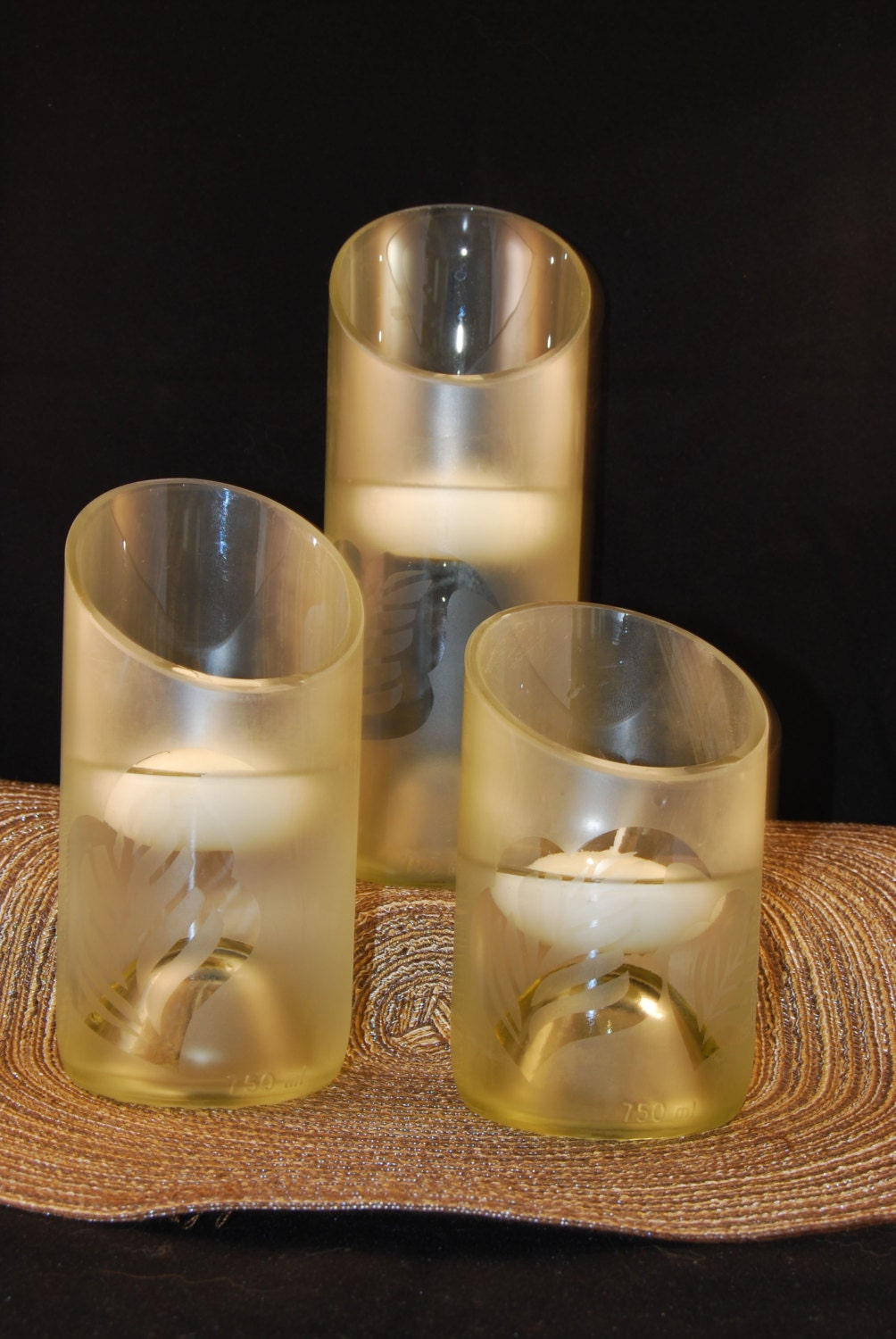 Wine bottle candle holders by myglassworks on etsy for Champagne bottle candle holders