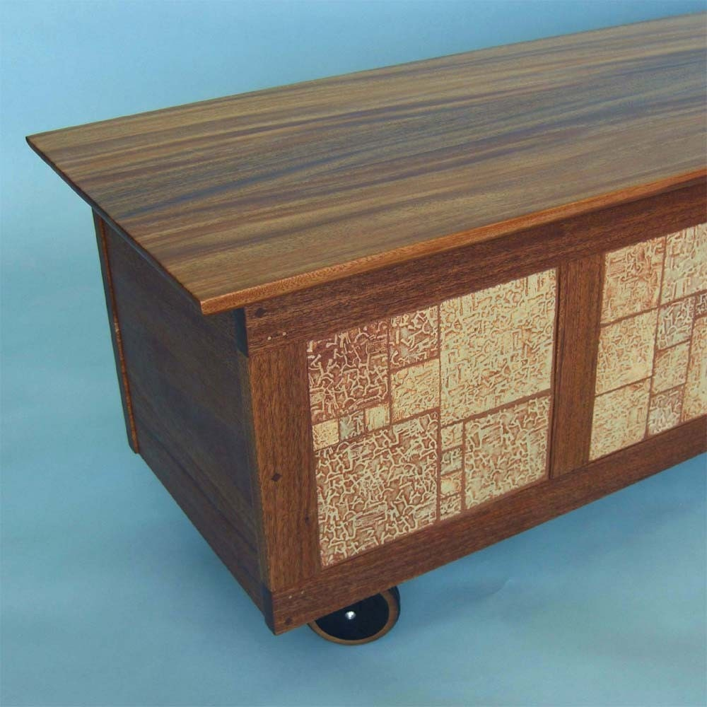 Filing Cabinet Bench In Mahogany With Handmade Tile By Wooditis