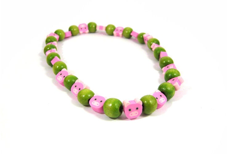 Green pink pig beads piggy childrens fun jewellery animal apple pea necklace funky kids jewelry cute birthday party treat small gift reward - OliveAndVince