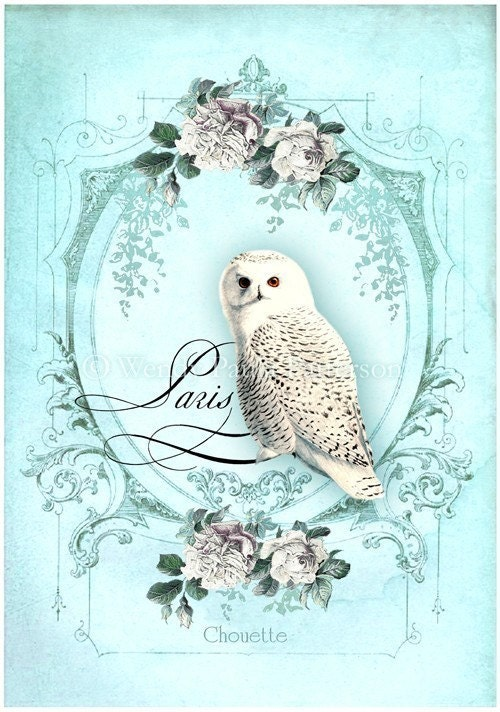 Owl...Chouette...Giclee Collage Print
