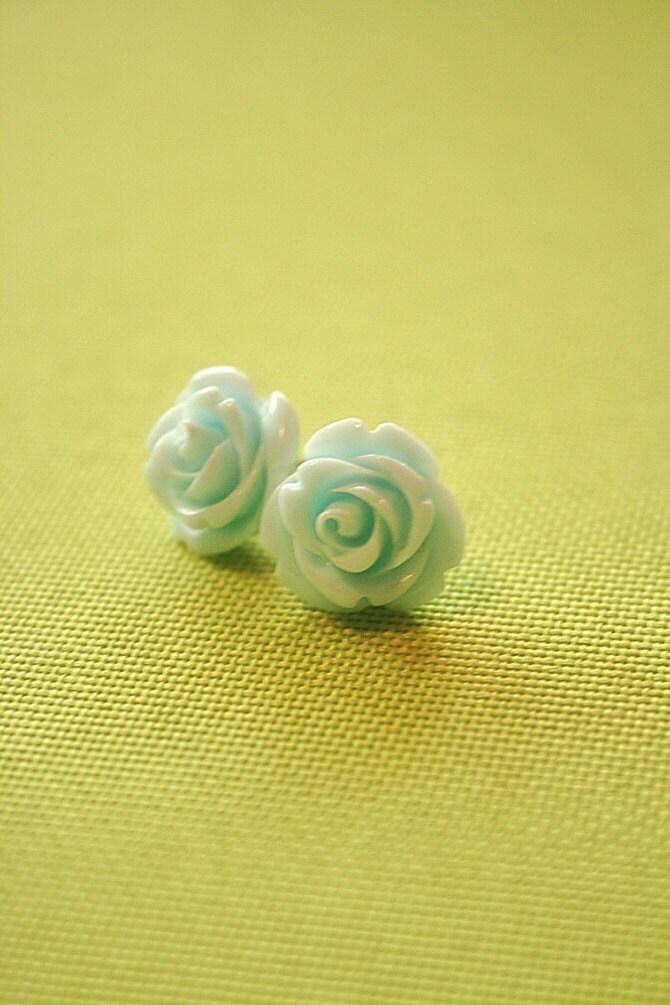 Light blue rose flower earring studs