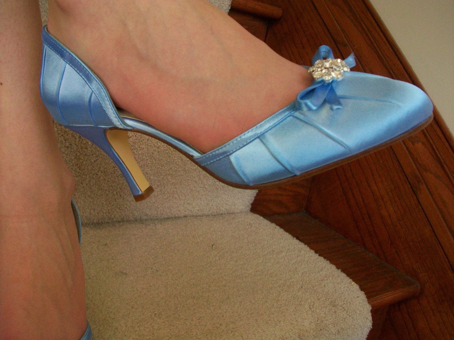 Cinderella Blue Satin Shoes...Something Blue For Your Fairy Tale Wedding.