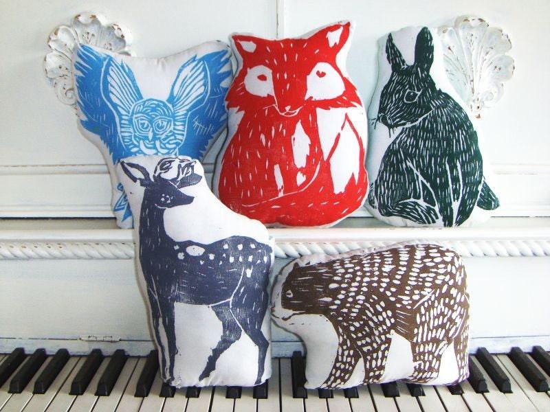 Woodland Creatures Collection. 5 Plush Animal Pillows. Woodblock Printed. Save 10%. Customizable Colors.