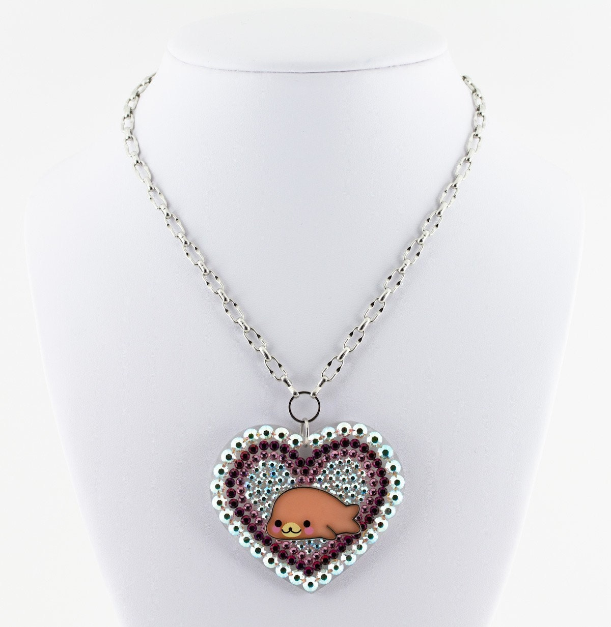 Huge Bling Mamegoma Happy Seal Swarovski Crystal Heart Pendant on funky rhodium plated chain cute japanese lolita style/inspired