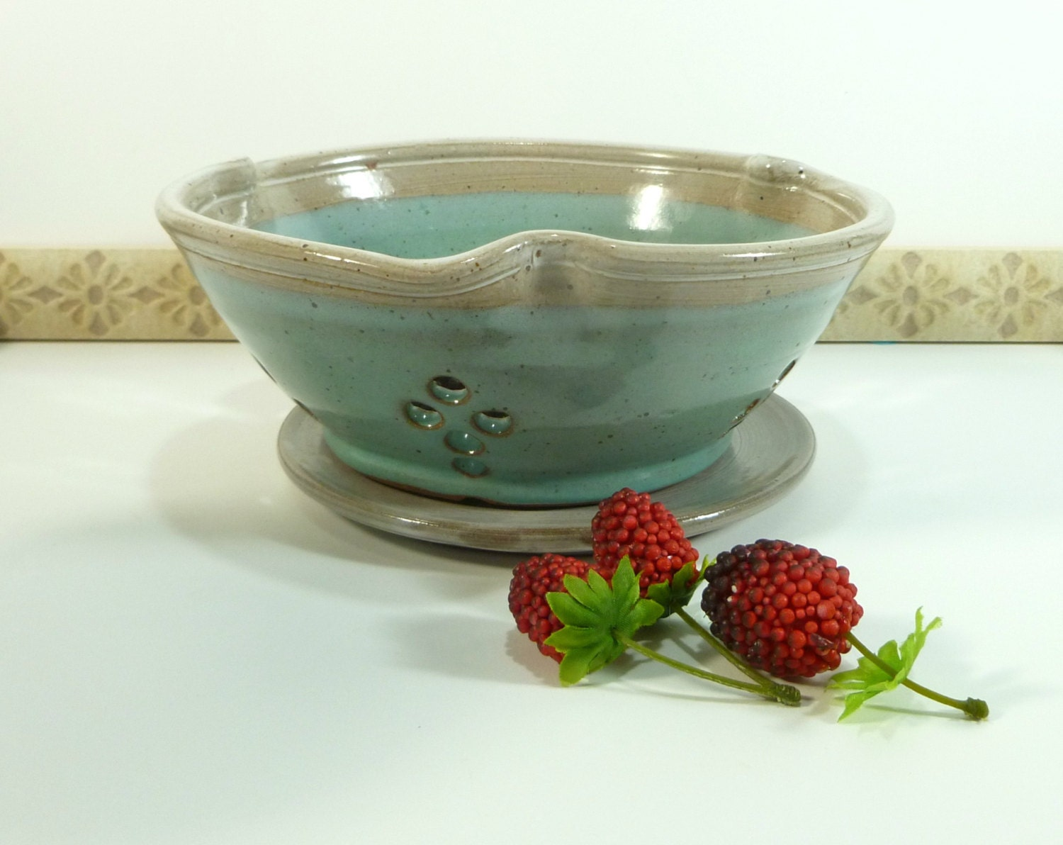 Stoneware berry bowl turquoise and white
