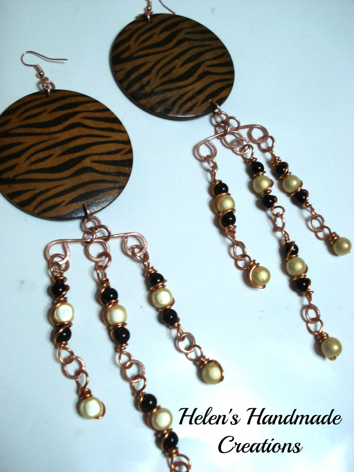 BIG BOLD LONG   wire wrapped copper earrings animal print beaded - helenshmcreations