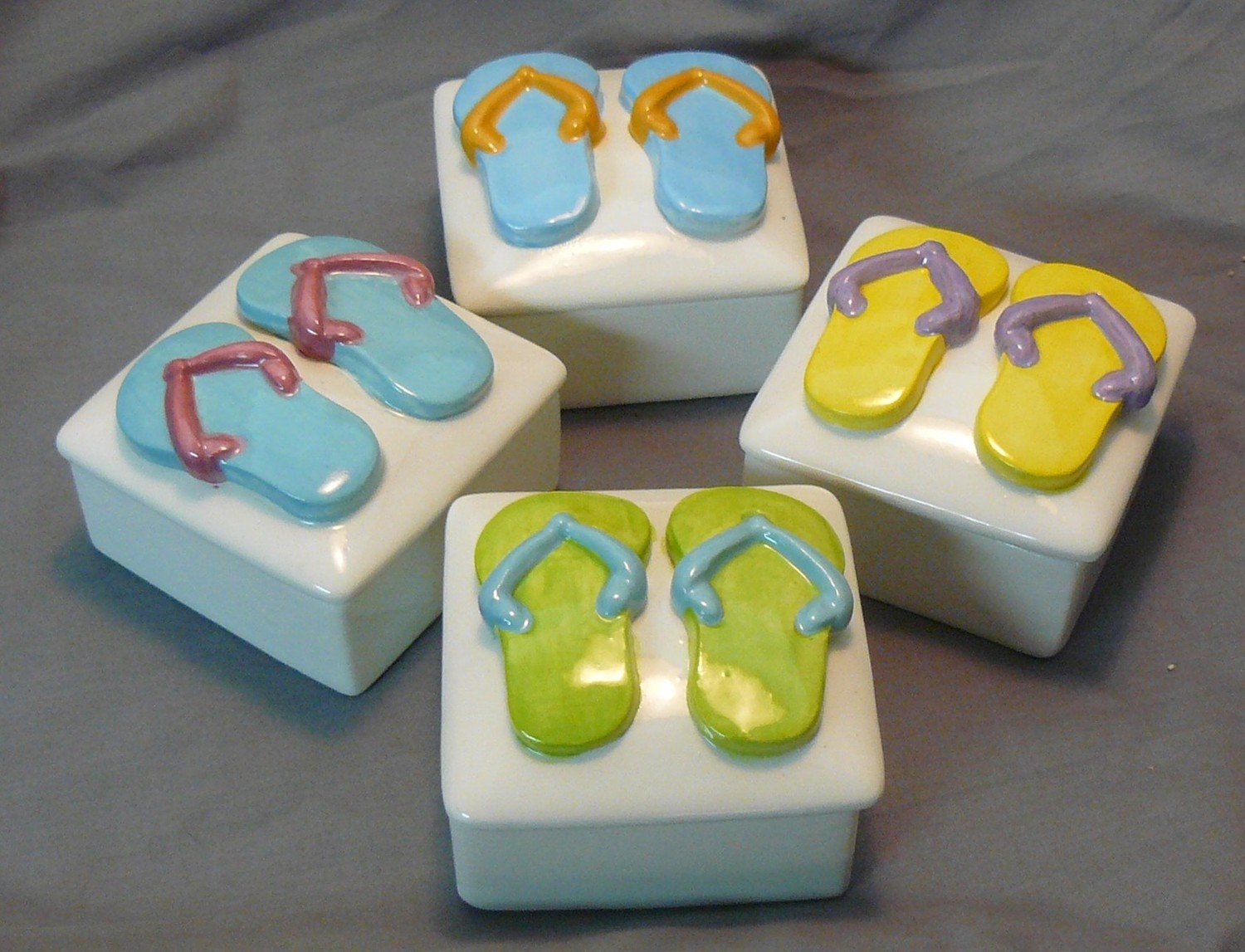 Customizable Flip Flop Ceramic Keepsake Boxes-Set of 4