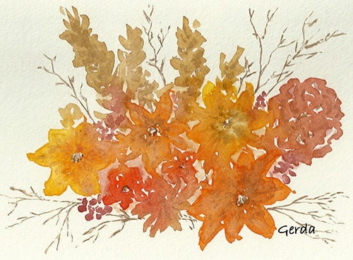 Fall Leaves Flowers Twigs 5x7 watercolor print