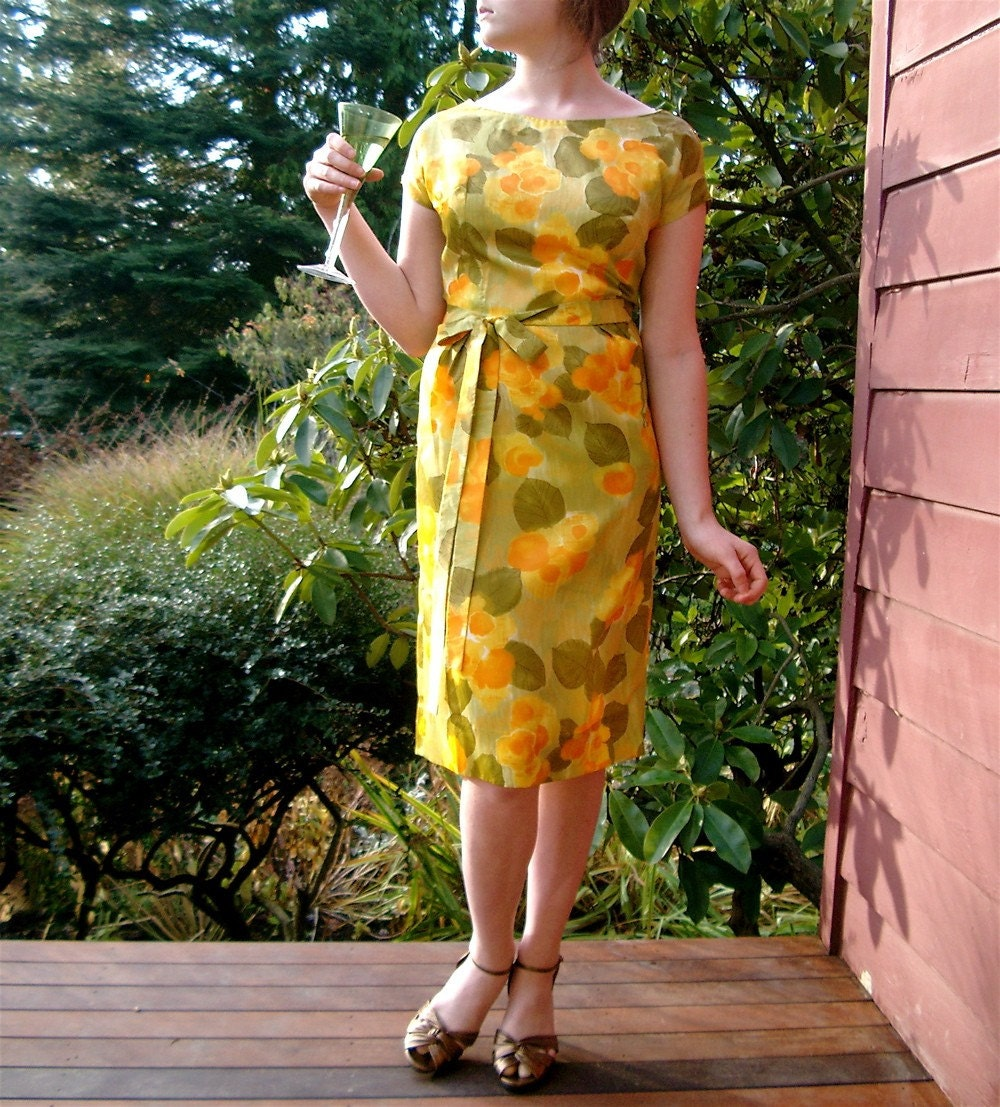 Delightful Vintage 1959-1960 Cocktail Party Dress, Wiggle Sheath in Warm Golden Yellow and Olive Floral Satin