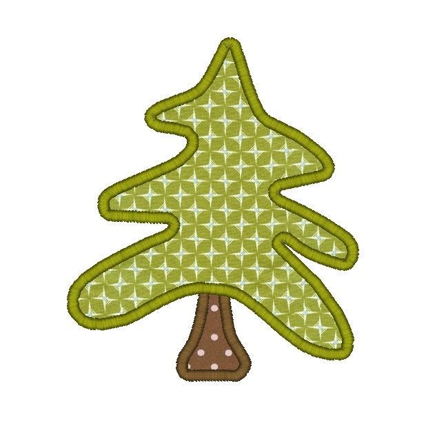 Woodland Christmas Tree Machine Embroidery Applique Design-INSTANT DOWNLOAD - SewChaCha