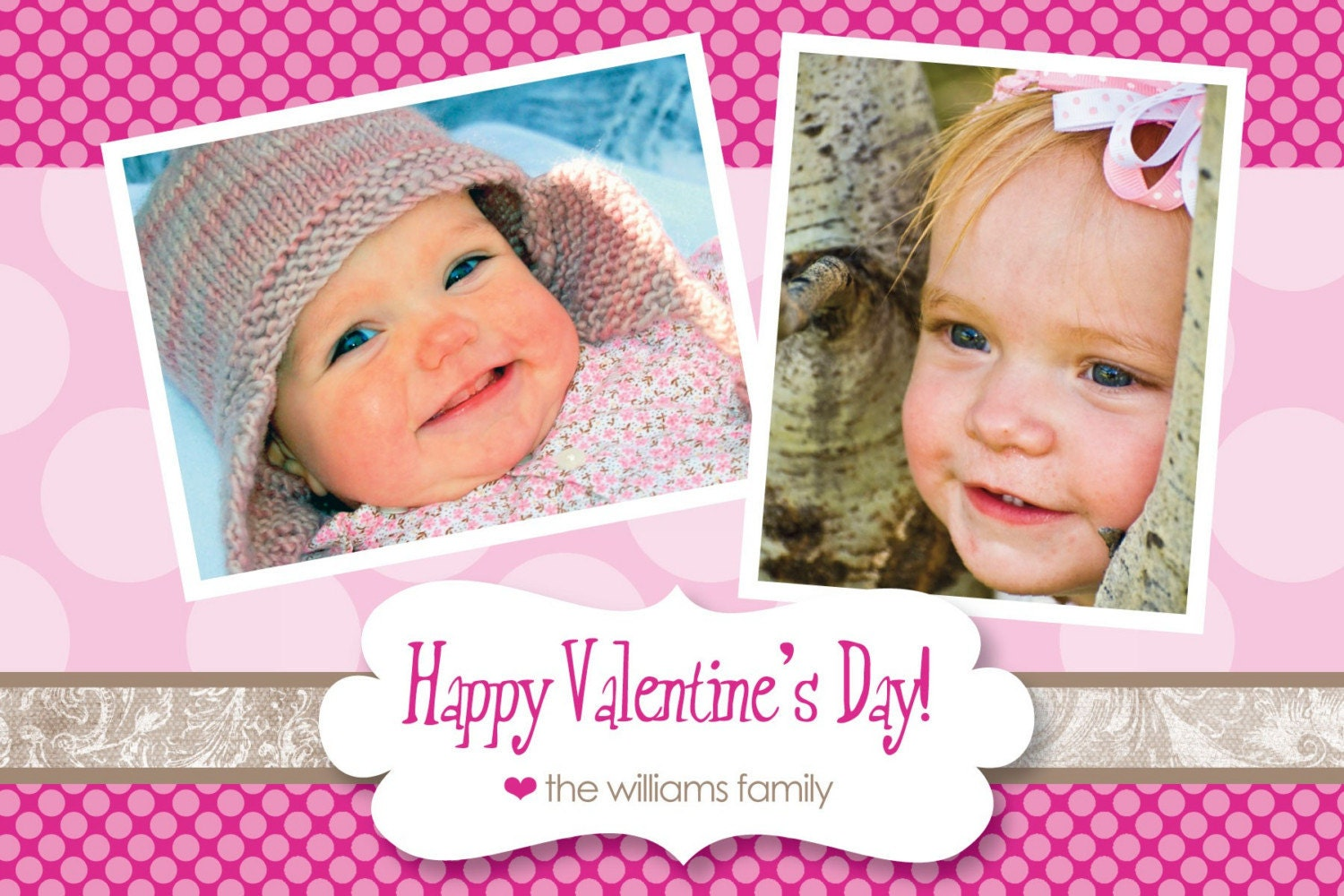 Pretty Polka Dots - Custom Photo Valentines Card
