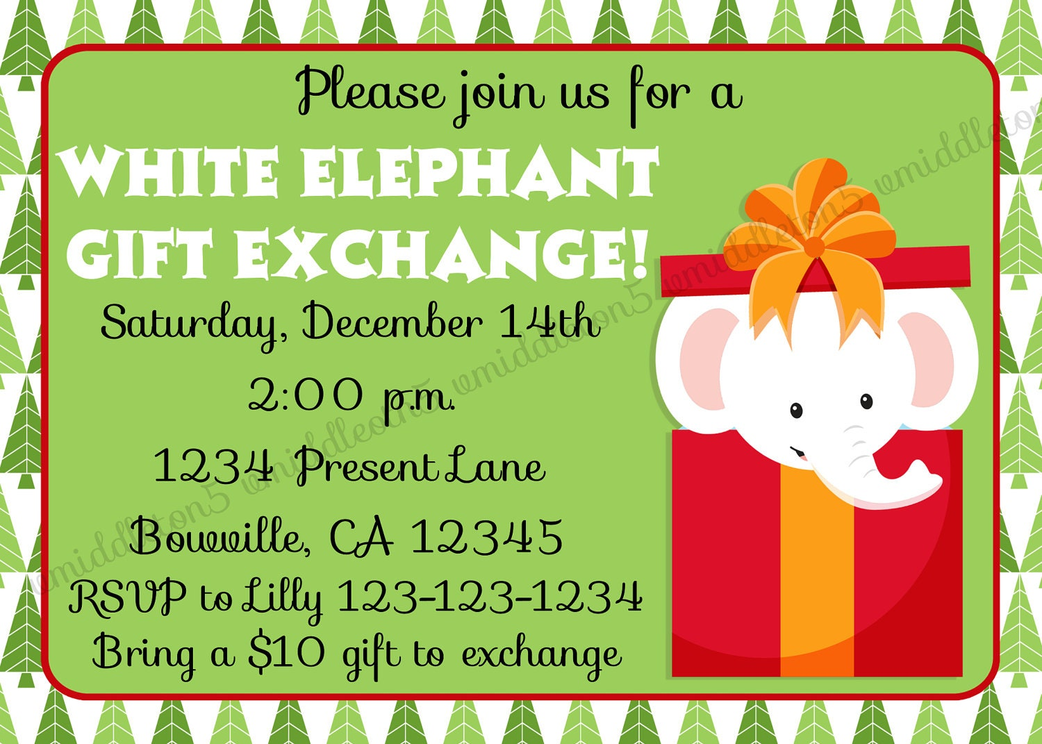 Items similar to White Elephant Gift Exchange Invitation Print Your ...