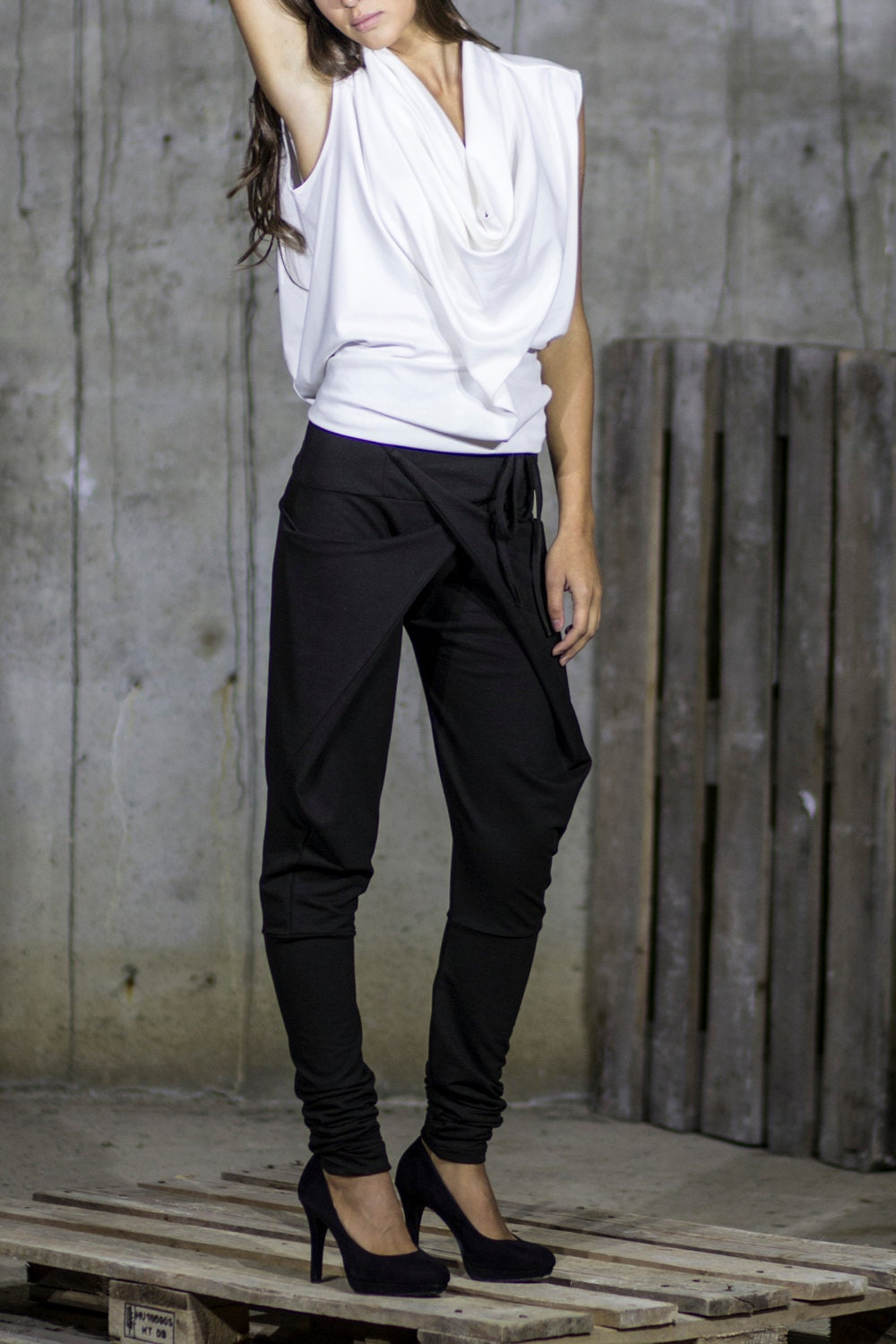 Black Extravagant Harem Pants  Drop Crotch Tapered Pants  Wrap Front Trousers  Criss Cross Tight Trousers by Silvia Monetti