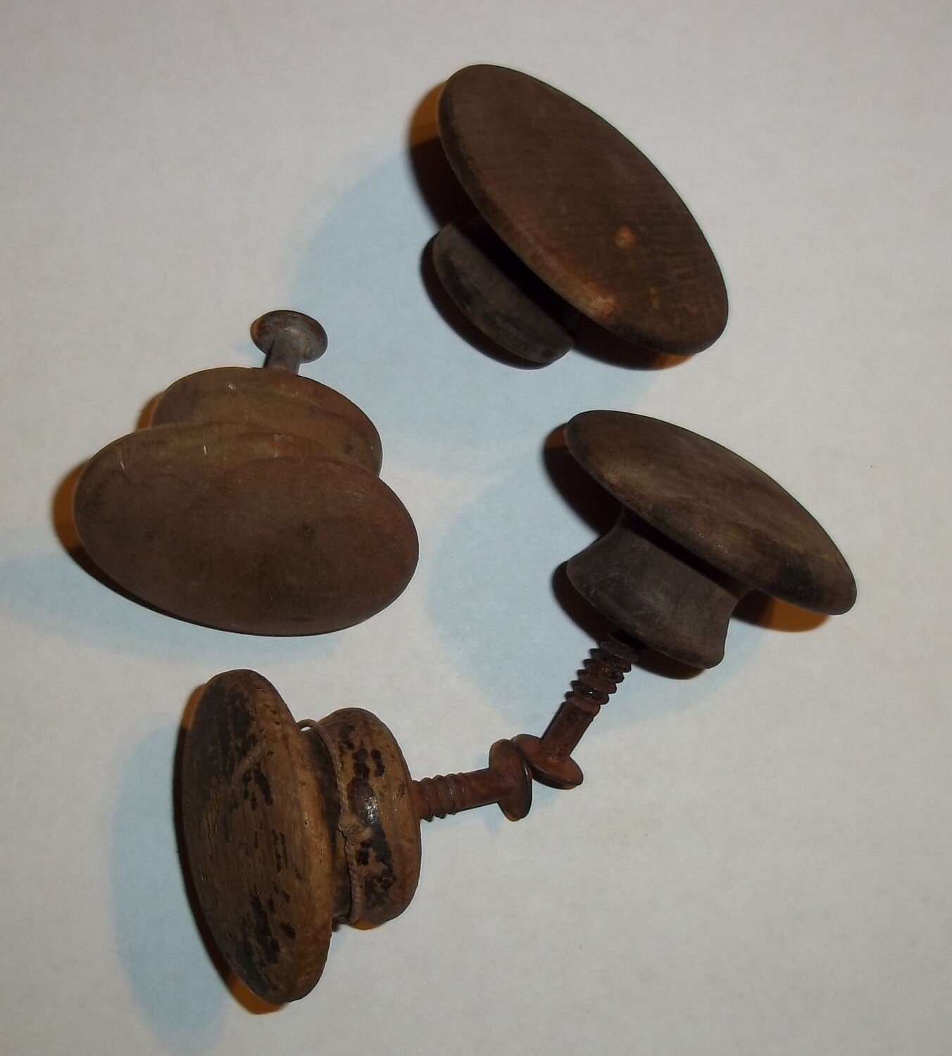 Wooden Drawer Pulls ~ Four primitive wood wooden round drawer pulls by gonetotexas