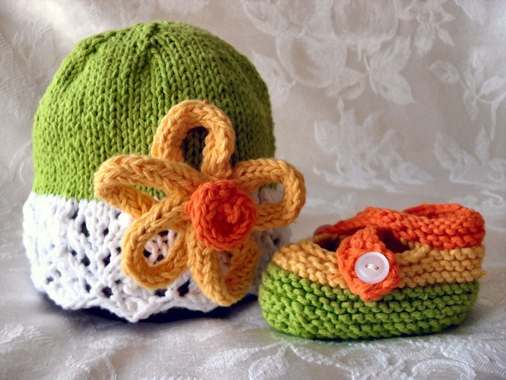 COTTON HAND KNITTED Lime Green and White Lace Cloche with Yellow and Orange Flower and Matching Cross-strapped Booties
