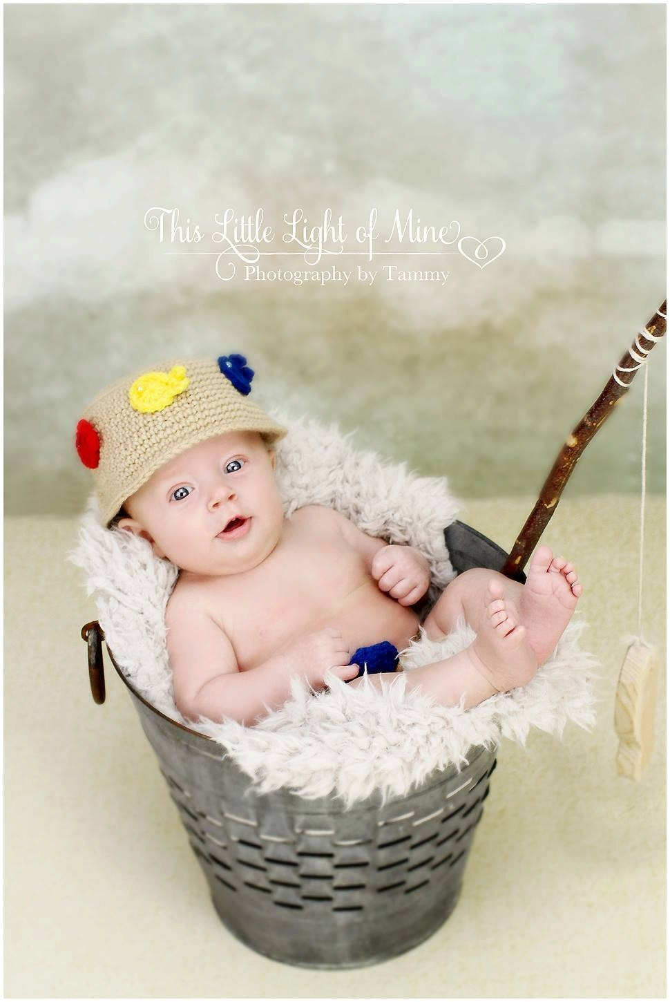 Fishing outfit photo prop hat diaper cover by conniemariepfost for Baby fishing hat
