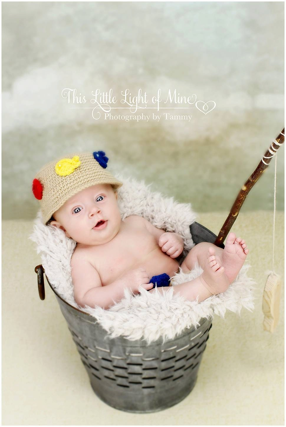 Fishing outfit photo prop hat diaper cover by conniemariepfost for Toddler fishing hat
