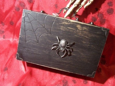 Wood Spider Purse/ Aged black  box purse with wood burned web / Steampunk victorian vampire