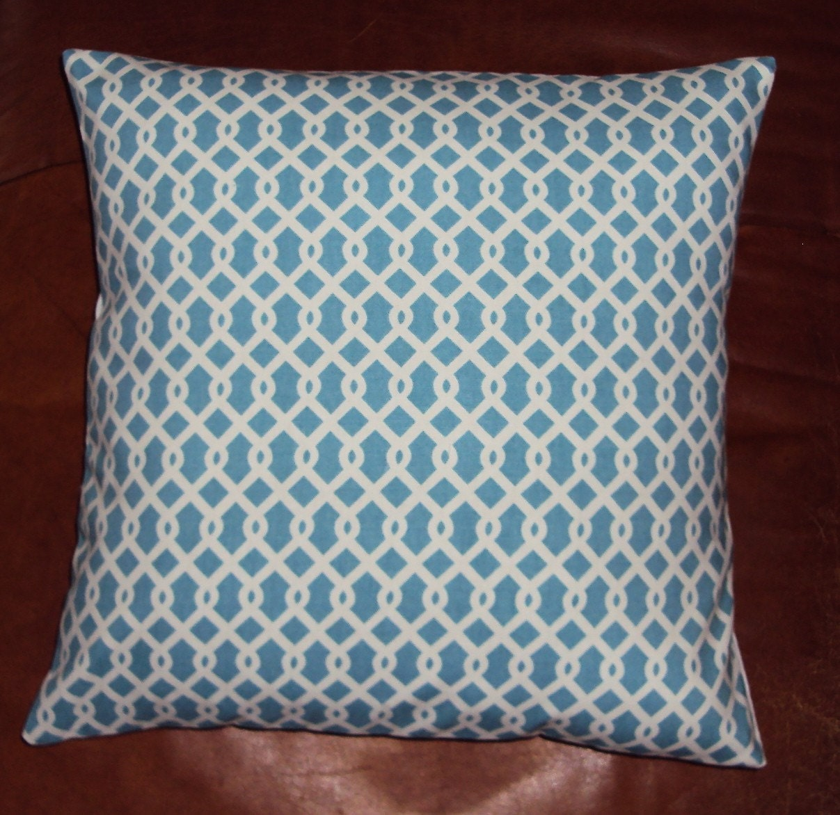 Light Turquoise Blue Waverly Lattice Pillow Cover - FREE SHIPPING