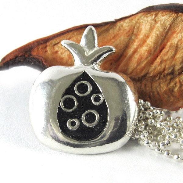 Silver necklace pendant -Pomegranate - Black