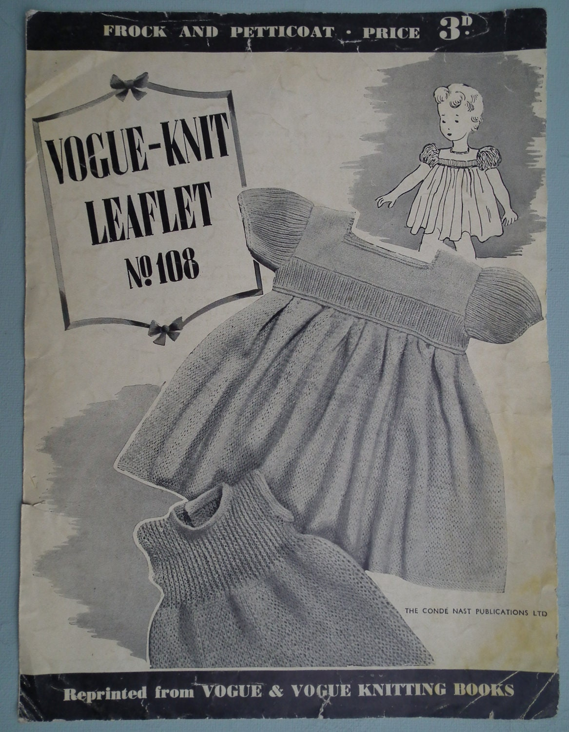 Free Vintage Vogue Knitting Patterns : VOGUE Knitting Pattern Vintage 1940s Baby Dress by sewmuchfrippery