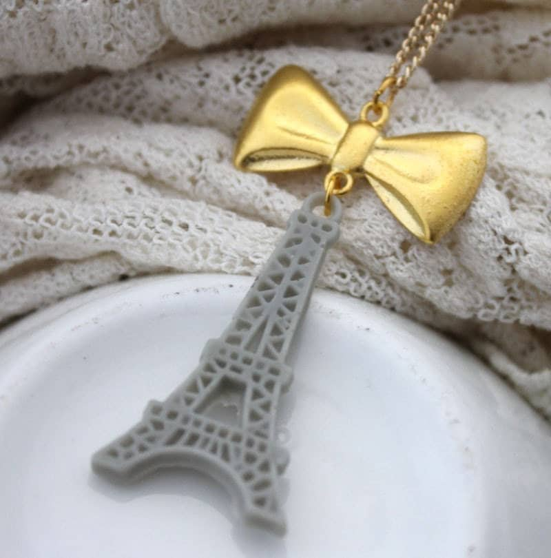 Cloudy Day... Sweet Grey Eiffel Tower Gold Bow Charm