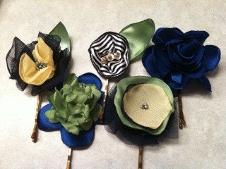 Hair Bouquet Shades of Blue with Green and Yellow Bursts of Color (Set of 5)