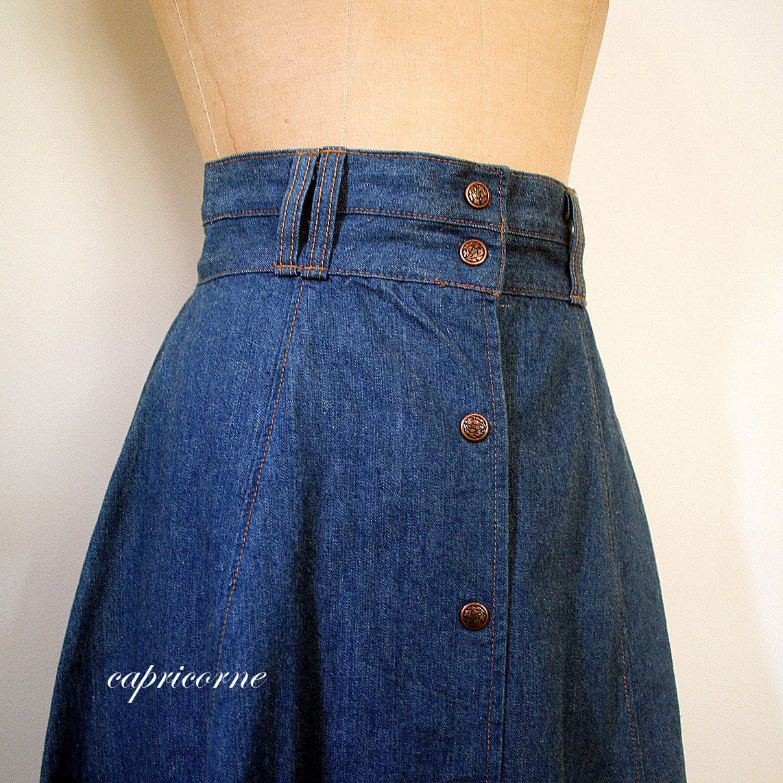 vintage denim skirt high waisted 1970 s prairie by ageofmint