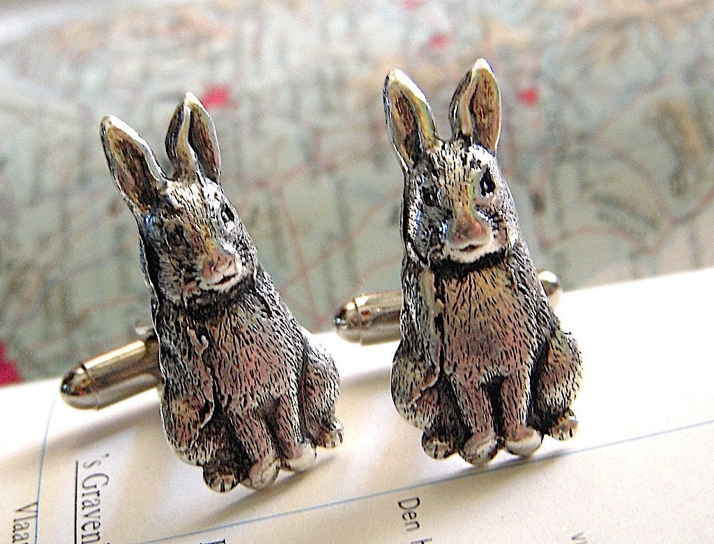 Rabbit Cufflinks - Antiqued SILVER - Exclusive Original Design by CosmicFirefly