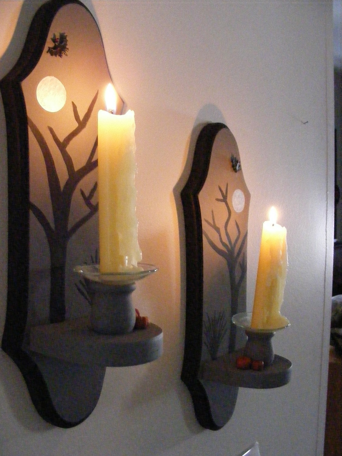 Hand Painted Hallween Wall Sconces Set of Two