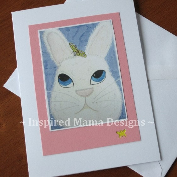 White Rabbit Art Card 4x55 inch Greeting Card by inspiredmama75 from etsy.com