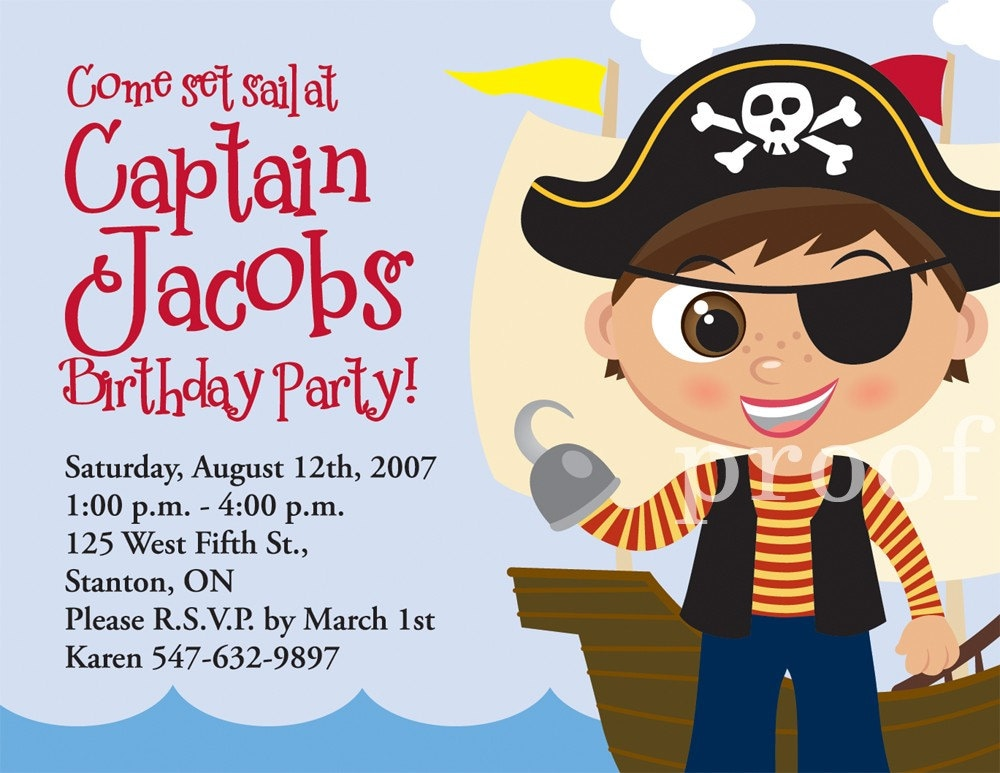 Pirate Boy Birthday Invitation