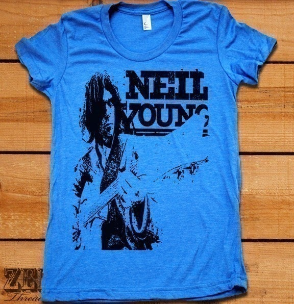 Women's NEIL YOUNG t shirt american apparel  S M L XL (14 Colors Available)