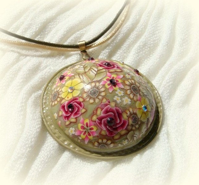 Pendant. Pink Roses, Olive and yellow Millefiori flowers  Pendant, Polymer clay Handmade Jewelry
