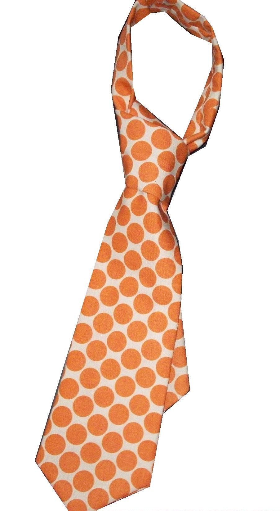 Boys Tie Amy Butler Moon Dots in Orange, YOU PICK SIZE