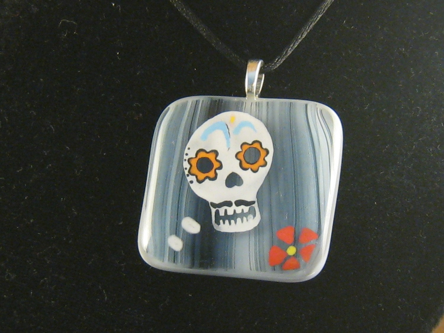 Male Sugar Skull Fused Glass Pendant